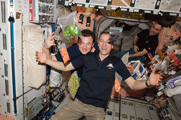 Artikelbillede 800px ISS 34 crew with fresh food